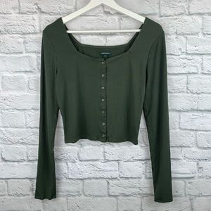 Wild Fable Olive Square Neck Button Up Blouse XS